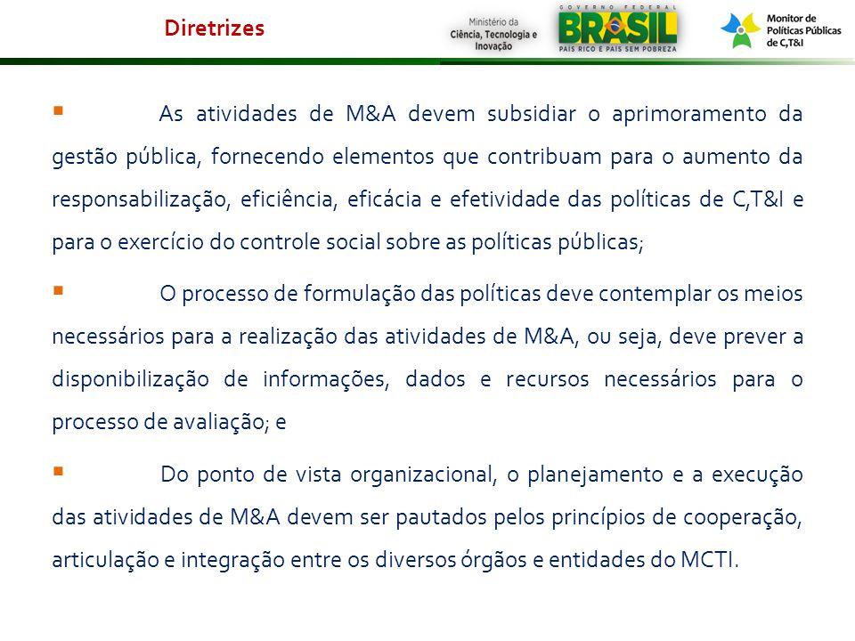 As atividades de M&A devem subsidiar o aprimoramento da gestão pública, fornecendo elementos que contribuam para o aumento da responsabilização, efici