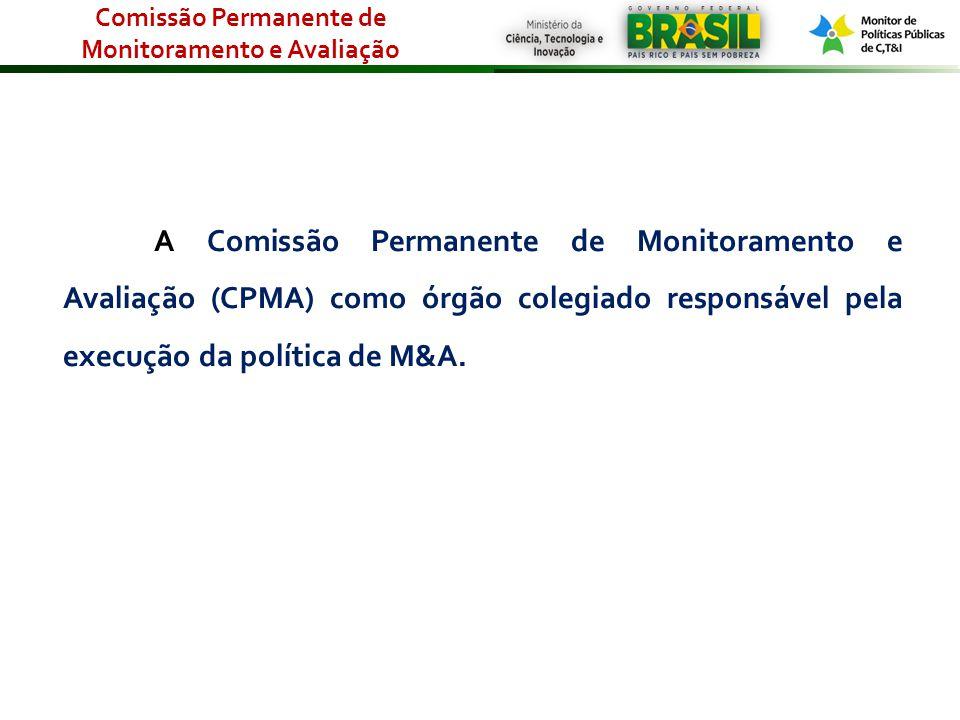 A Comissão Permanente de Monitoramento e Avaliação (CPMA) como órgão colegiado responsável pela execução da política de M&A. Comissão Permanente de Mo