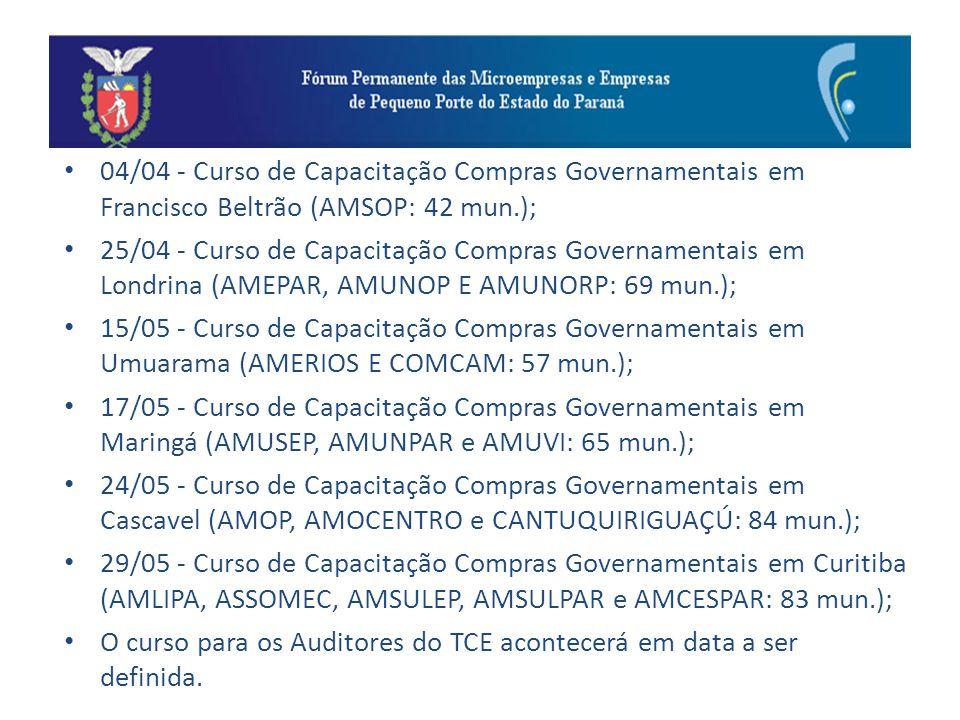 04/04 - Curso de Capacitação Compras Governamentais em Francisco Beltrão (AMSOP: 42 mun.); 25/04 - Curso de Capacitação Compras Governamentais em Lond