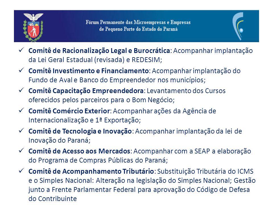 Comitê de Racionalização Legal e Burocrática: Acompanhar implantação da Lei Geral Estadual (revisada) e REDESIM; Comitê Investimento e Financiamento: