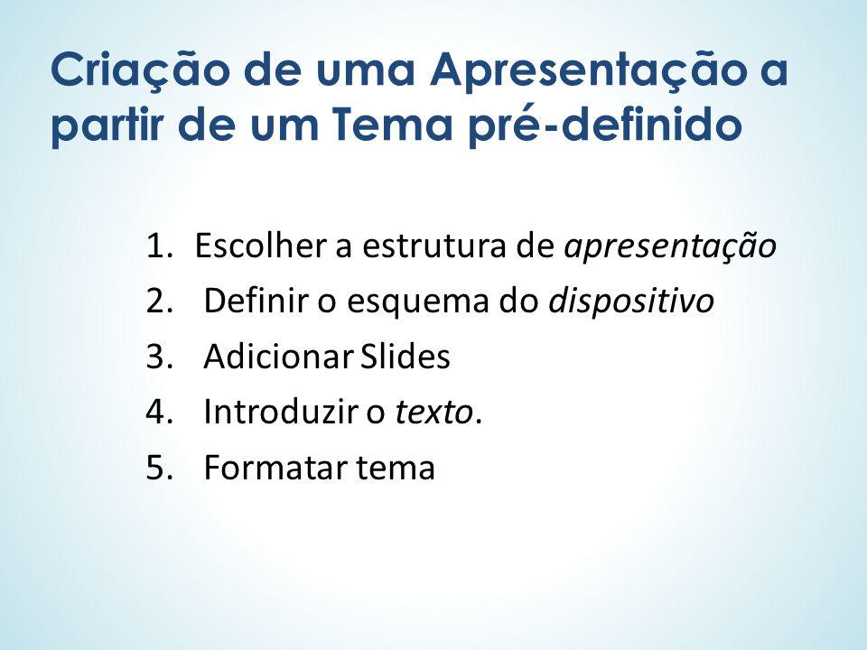 Criação de uma Apresentação a partir de um Tema pré-definido 1.Escolher a estrutura de apresentação 2. Definir o esquema do dispositivo 3. Adicionar S
