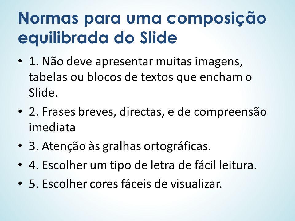 Normas para uma composição equilibrada do Slide 1. Não deve apresentar muitas imagens, tabelas ou blocos de textos que encham o Slide. 2. Frases breve