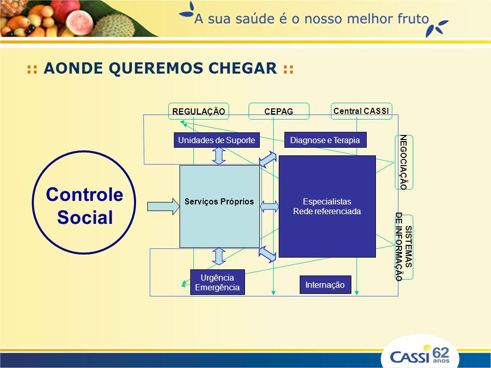 Controle Social Central CASSI REGULAÇÃO CEPAG Serviços Próprios Urgência Emergência Especialistas Rede referenciada Internação Diagnose e Terapia Unid