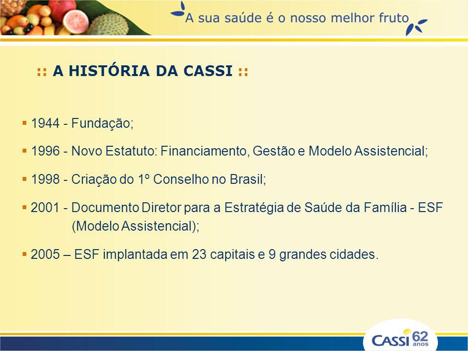 :: A HISTÓRIA DA CASSI :: 1944 - Fundação; 1996 - Novo Estatuto: Financiamento, Gestão e Modelo Assistencial; 1998 - Criação do 1º Conselho no Brasil;
