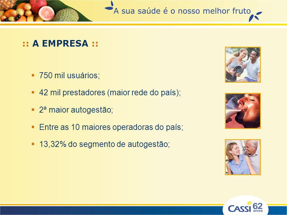 :: A EMPRESA :: Saúde Supletiva – Autogestão; Regulação da ANS; Financiamento: Banco do Brasil (BB) / Participantes; Gestão compartilhada: BB / Participantes; Operação – atua em todo o território nacional: Rede Própria ESF: 32 Serviços Próprios Rede Contratada: 42.000 prestadores de serviços de saúde.