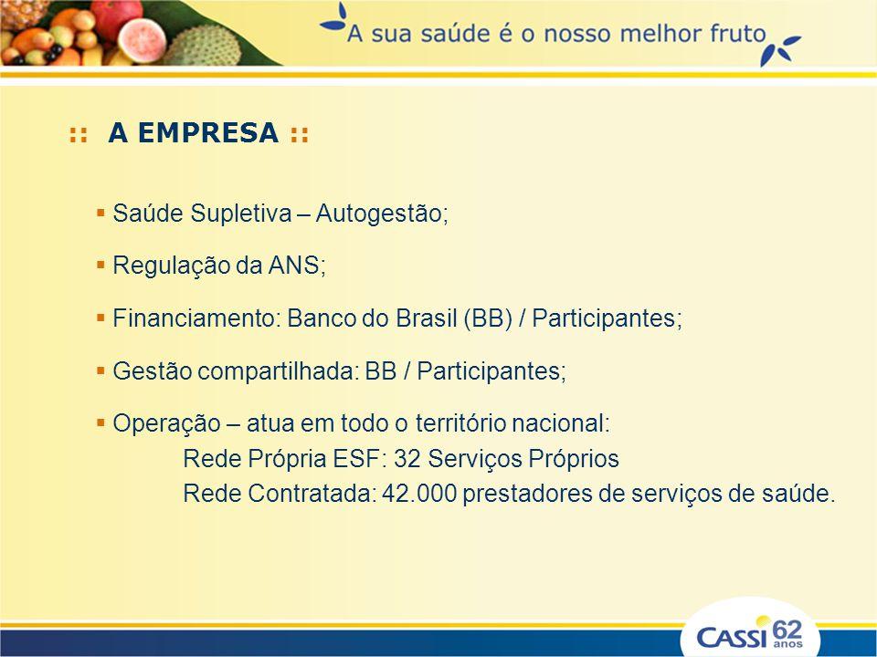 :: A EMPRESA :: Saúde Supletiva – Autogestão; Regulação da ANS; Financiamento: Banco do Brasil (BB) / Participantes; Gestão compartilhada: BB / Partic