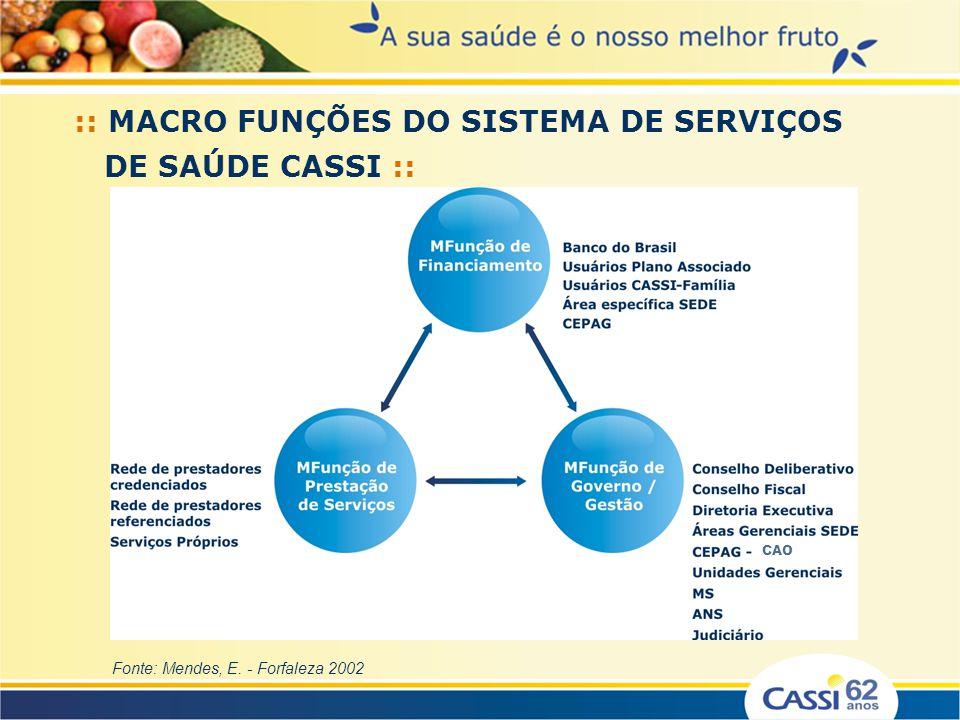 :: MACRO FUNÇÕES DO SISTEMA DE SERVIÇOS DE SAÚDE CASSI :: Fonte: Mendes, E. - Forfaleza 2002 CAO