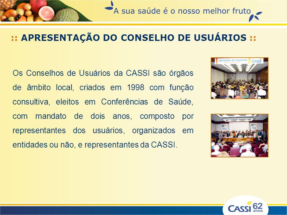 Os Conselhos de Usuários da CASSI são órgãos de âmbito local, criados em 1998 com função consultiva, eleitos em Conferências de Saúde, com mandato de