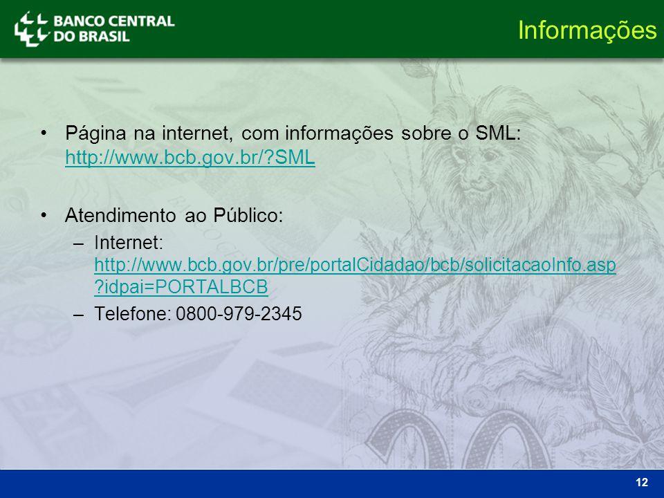 Informações Página na internet, com informações sobre o SML: http://www.bcb.gov.br/?SML http://www.bcb.gov.br/?SML Atendimento ao Público: –Internet: