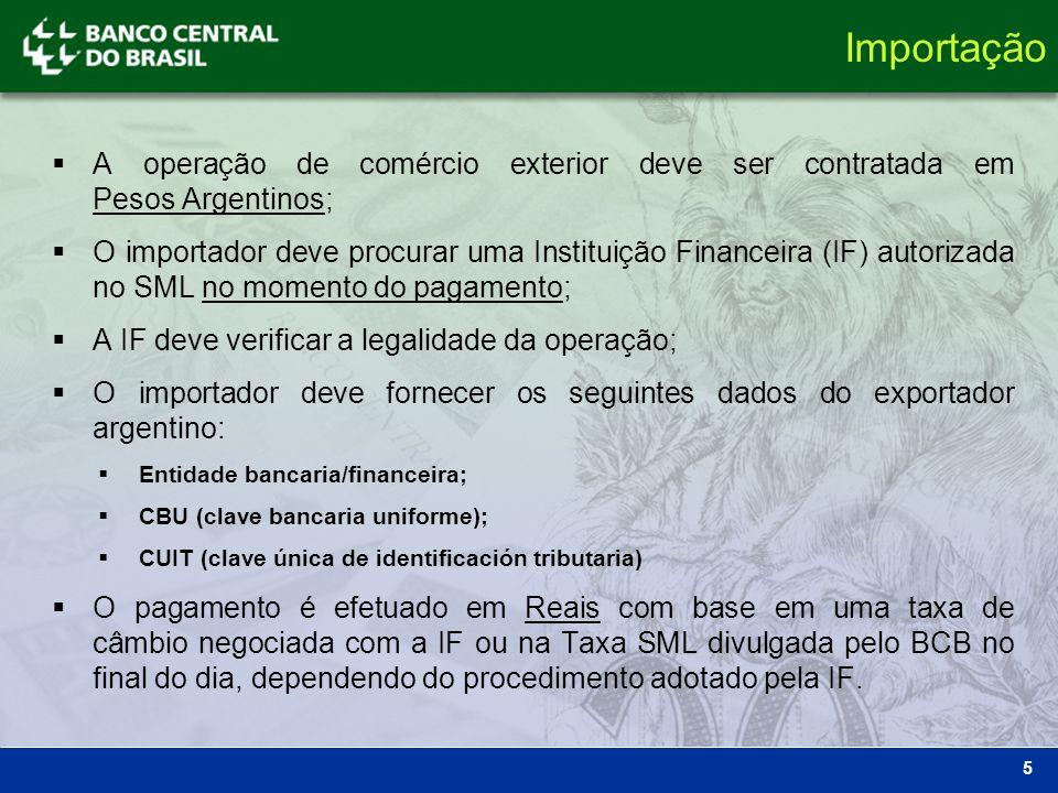 5 A operação de comércio exterior deve ser contratada em Pesos Argentinos; O importador deve procurar uma Instituição Financeira (IF) autorizada no SM