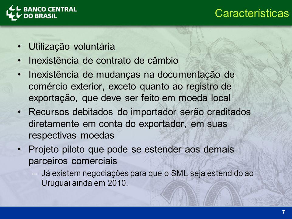 Características Utilização voluntária Inexistência de contrato de câmbio Inexistência de mudanças na documentação de comércio exterior, exceto quanto
