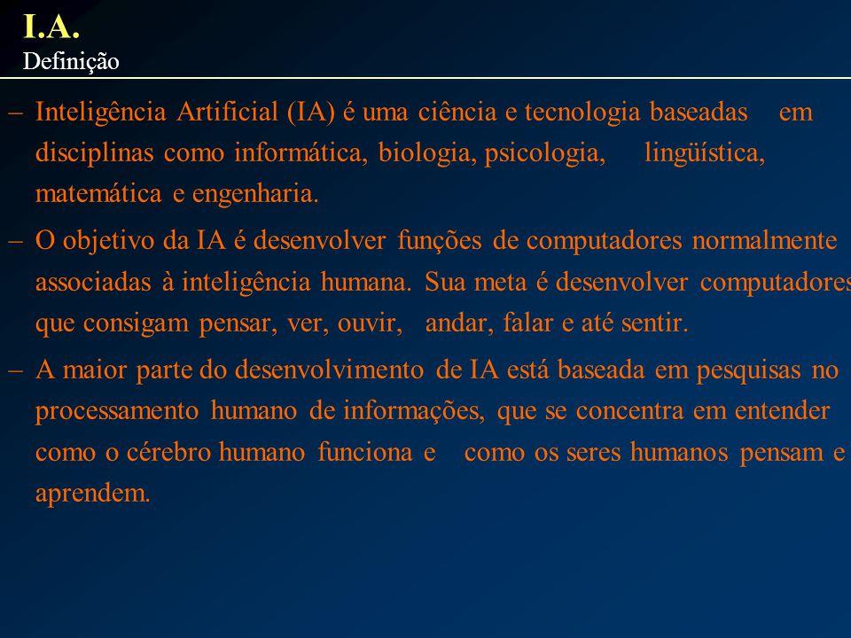 –Inteligência Artificial (IA) é uma ciência e tecnologia baseadas em disciplinas como informática, biologia, psicologia, lingüística, matemática e eng