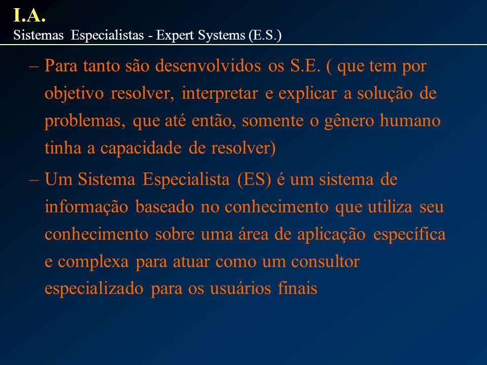 –Para tanto são desenvolvidos os S.E. ( que tem por objetivo resolver, interpretar e explicar a solução de problemas, que até então, somente o gênero