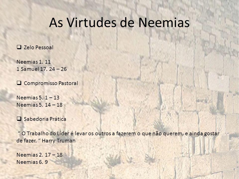As Virtudes de Neemias Zelo Pessoal Neemias 1.11 1 Samuel 17.
