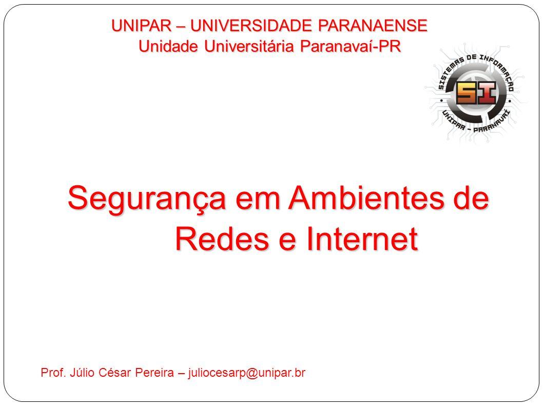UNIPAR – UNIVERSIDADE PARANAENSE Unidade Universitária Paranavaí-PR Prof. Júlio César Pereira – juliocesarp@unipar.br Segurança em Ambientes de Redes