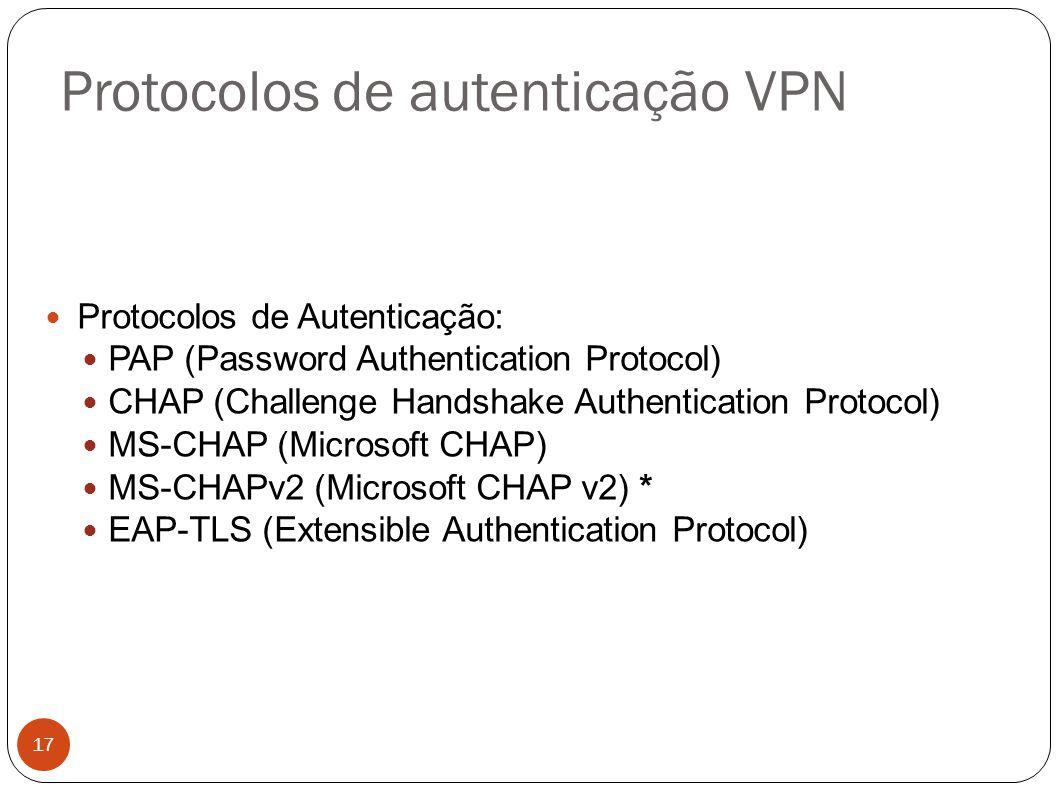 Protocolos de autenticação VPN 17 Protocolos de Autenticação: PAP (Password Authentication Protocol) CHAP (Challenge Handshake Authentication Protocol) MS-CHAP (Microsoft CHAP) MS-CHAPv2 (Microsoft CHAP v2) * EAP-TLS (Extensible Authentication Protocol)
