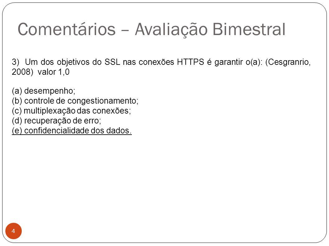 Comentários – Avaliação Bimestral 4 3) Um dos objetivos do SSL nas conexões HTTPS é garantir o(a): (Cesgranrio, 2008) valor 1,0 (a) desempenho; (b) co