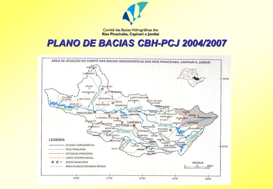 Elaboração do Plano de Bacias 2004-2007: Diagnóstico ==> Prognóstico ==> Plano de Metas e Ações Área de Abrangência: bacias dos rios Piracicaba (trecho paulista e mineiro), Capivari e Jundiaí Preço Global: R$ 350.000,00 R$ 220.000,00 - FEHIDRO R$ 130.000,00 - SABESP Prazo de execução: 180 dias Consultas Públicas: uma no trecho mineiro e outra no trecho paulista PLANO DE BACIAS CBH-PCJ 2004/2007