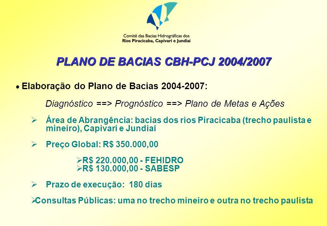 A CONTRATAÇÃO DO PLANO DO CBH-PCJ Plenário do CBH-PCJ O Plenário do CBH-PCJ, em 31/03/2003, reserva R$ 220.000,00 de recursos do FEHIDRO, delegando ao Grupo Técnico de Planejamento - GT-PL, a definição do Tomador; Plenário do CBH-PCJ e PCJ Federal O Plenário do CBH-PCJ e PCJ Federal em 22/05/2003, cria a Câmara Técnica do Plano de Bacias que tem como uma das suas atribuições propor Termos de Referência e acompanhar elaboração do Plano de Bacias; Plenário do CBH-PCJ e PCJ Federal O Plenário do CBH-PCJ e PCJ Federal, em 22/05/2003, delega ao CT-PB a tarefa de viabilizar a elaboração do Plano de Bacias 2004-2007 e a definição do Tomador CT-PB Em 11/08/2003, a CT-PB aprova o Tomador dos recursos do FEHIDRO para a elaboração do Plano: Companhia de Saneamento Básico do Estado de São Paulo - SABESP (dispensado de contrapartida);