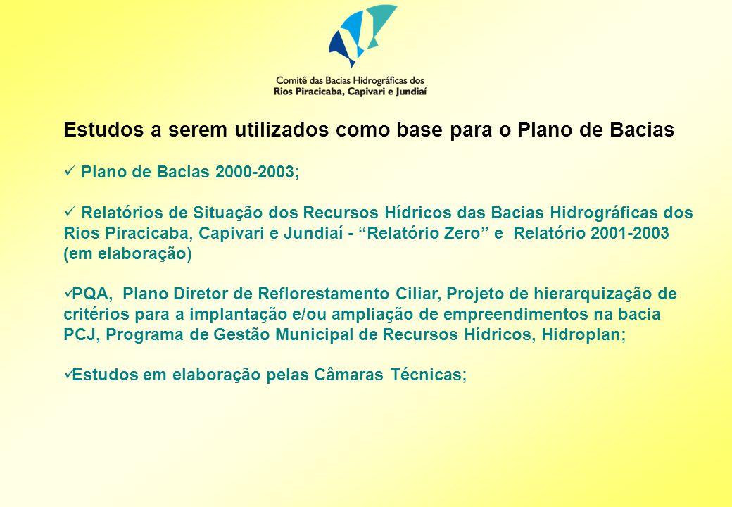 Estudos a serem utilizados como base para o Plano de Bacias Plano de Bacias 2000-2003; Relatórios de Situação dos Recursos Hídricos das Bacias Hidrográficas dos Rios Piracicaba, Capivari e Jundiaí - Relatório Zero e Relatório 2001-2003 (em elaboração) PQA, Plano Diretor de Reflorestamento Ciliar, Projeto de hierarquização de critérios para a implantação e/ou ampliação de empreendimentos na bacia PCJ, Programa de Gestão Municipal de Recursos Hídricos, Hidroplan; Estudos em elaboração pelas Câmaras Técnicas;