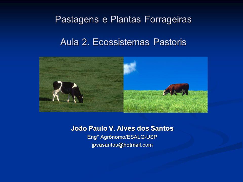 Pastagens e Plantas Forrageiras Aula 2. Ecossistemas Pastoris João Paulo V. Alves dos Santos Eng° Agrônomo/ESALQ-USP jpvasantos@hotmail.com
