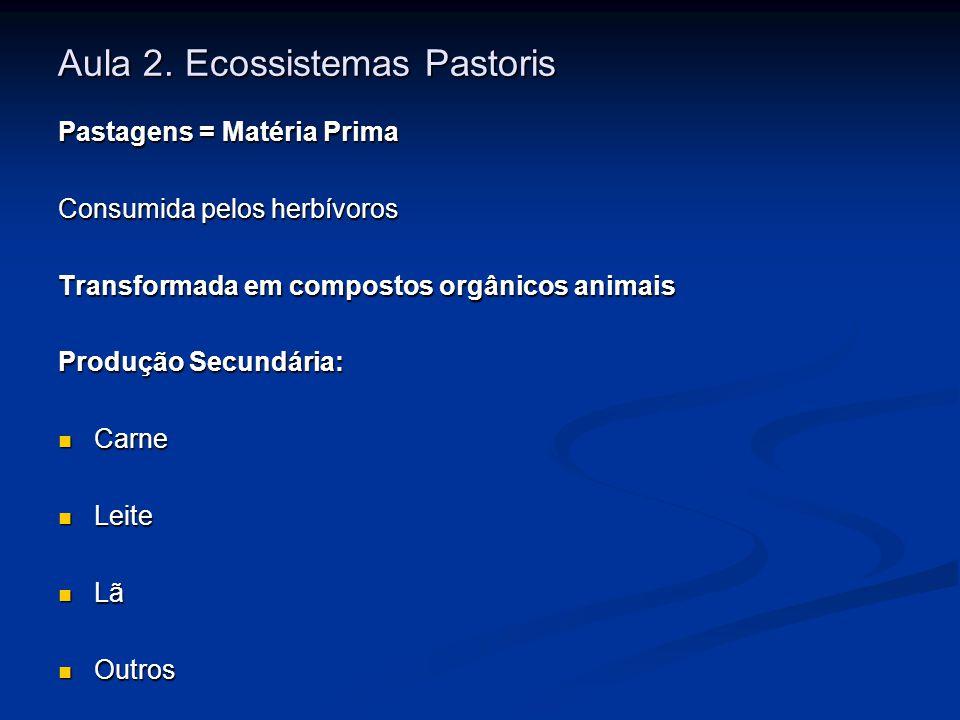 Aula 2. Ecossistemas Pastoris Pastagens = Matéria Prima Consumida pelos herbívoros Transformada em compostos orgânicos animais Produção Secundária: Ca