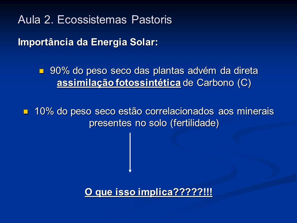 Aula 2. Ecossistemas Pastoris Importância da Energia Solar: 90% do peso seco das plantas advém da direta assimilação fotossintética de Carbono (C) 90%
