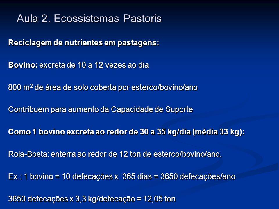 Aula 2. Ecossistemas Pastoris Reciclagem de nutrientes em pastagens: Bovino: excreta de 10 a 12 vezes ao dia 800 m 2 de área de solo coberta por ester