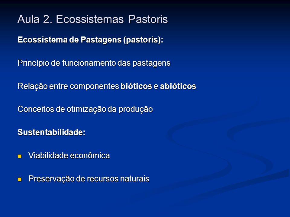 Aula 2. Ecossistemas Pastoris Ecossistema de Pastagens (pastoris): Princípio de funcionamento das pastagens Relação entre componentes bióticos e abiót