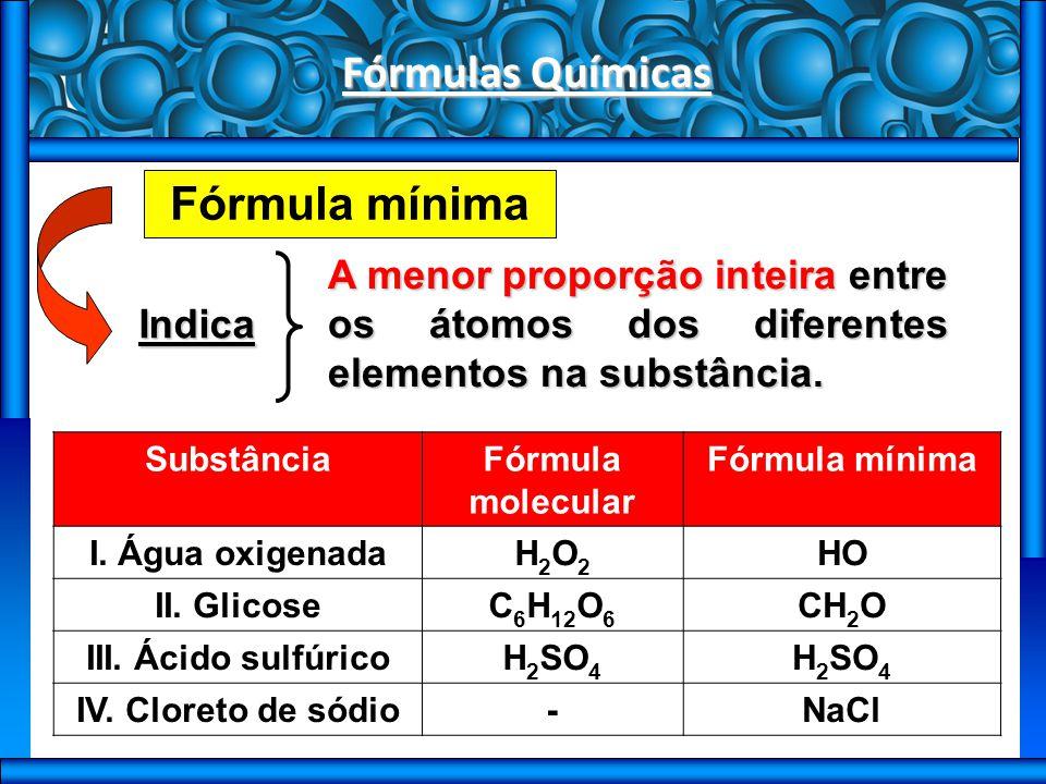 Fórmulas Químicas Fórmula centesimal Indica Os elementos formadores da substância e suas porcentagens em massa.