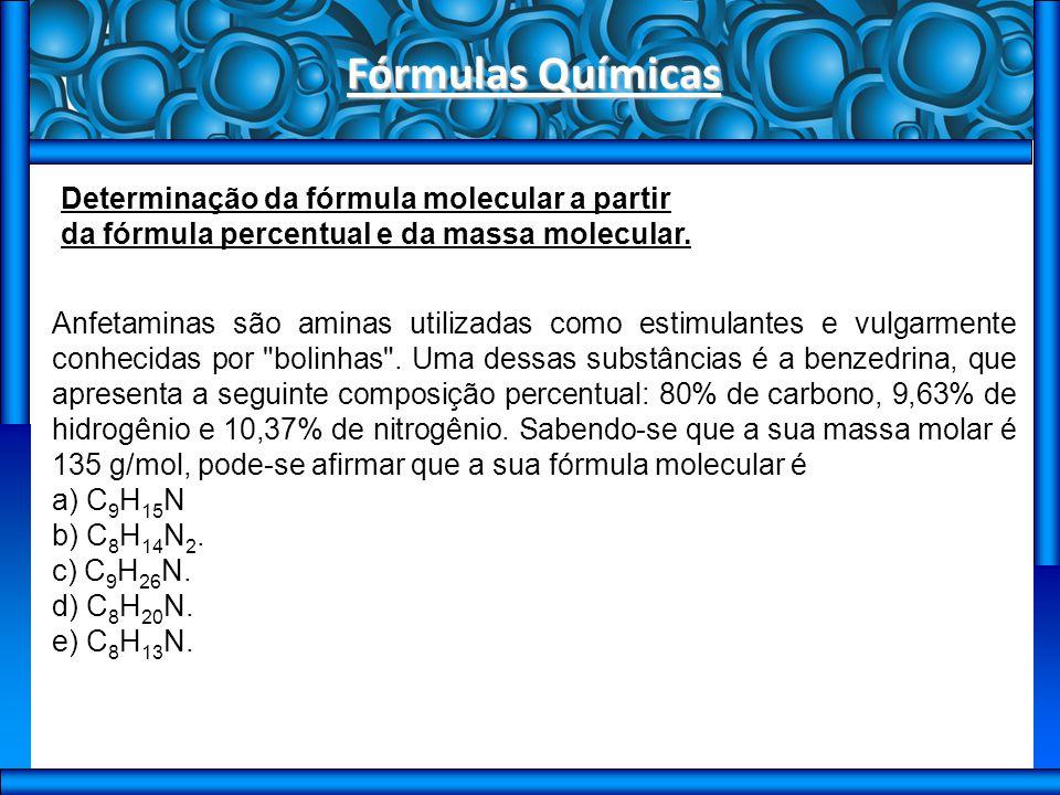 Fórmulas Químicas Exercícios de sala 1) (Ufpi) Um composto X contém 63,3% de manganês e 36,7% de oxigênio, em massa.