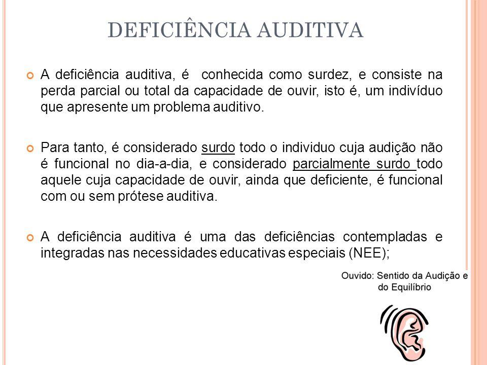 A deficiência auditiva, é conhecida como surdez, e consiste na perda parcial ou total da capacidade de ouvir, isto é, um indivíduo que apresente um pr