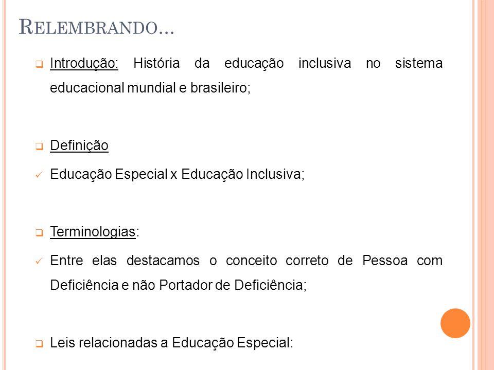 Legislação que regulamenta a Educação Especial no Brasil Constituição Federal de 1988 - Educação Especial Lei nº 9394/96 – Lei de Diretrizes e Bases da Educação Nacional – LDBN Lei nº 9394/96 – LDBN - Educação Especial Lei nº 8069/90 - Estatuto da Criança e do Adolescente - Educação Especial Lei nº 8069/90 - Estatuto da Criança e do Adolescente Lei nº 8859/94 - Estágio Lei nº 10.098/94 - Acessibilidade Lei nº 10.436/02 - Libras Lei nº 7.853/89 - CORDE - Apoio às pessoas portadoras de deficiência Lei n.º 8.899, de 29 de junho de 1994 - Passe Livre Lei nº 9424 de 24 de dezembro de 1996 - FUNDEF Lei nº 10.845, de 5 de março de 2004 - Programa de Complementação ao Atendimento Educacional Especializado às Pessoas Portadoras de Deficiência Lei nº 10.216 de 4 de junho de 2001 - Direitos e proteção às pessoas acometidas de transtorno mental Plano Nacional de Educação - Educação Especial P RINCIPAIS MARCOS LEGAIS NO B RASIL