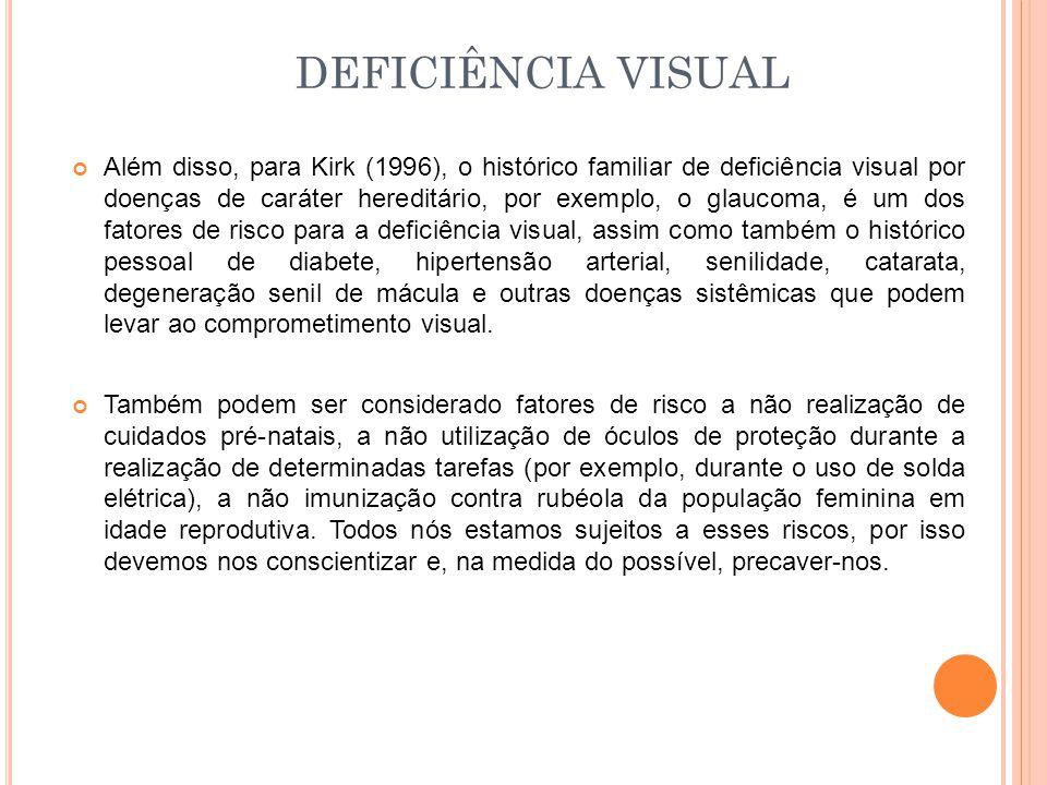 Além disso, para Kirk (1996), o histórico familiar de deficiência visual por doenças de caráter hereditário, por exemplo, o glaucoma, é um dos fatores