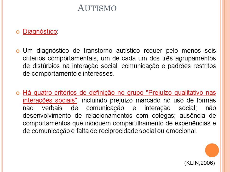 Diagnóstico: Um diagnóstico de transtorno autístico requer pelo menos seis critérios comportamentais, um de cada um dos três agrupamentos de distúrbio