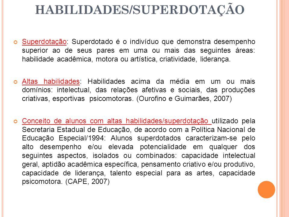 Superdotação: Superdotado é o indivíduo que demonstra desempenho superior ao de seus pares em uma ou mais das seguintes áreas: habilidade acadêmica, m