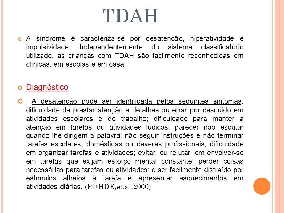A síndrome é caracteriza-se por desatenção, hiperatividade e impulsividade. Independentemente do sistema classificatório utilizado, as crianças com TD