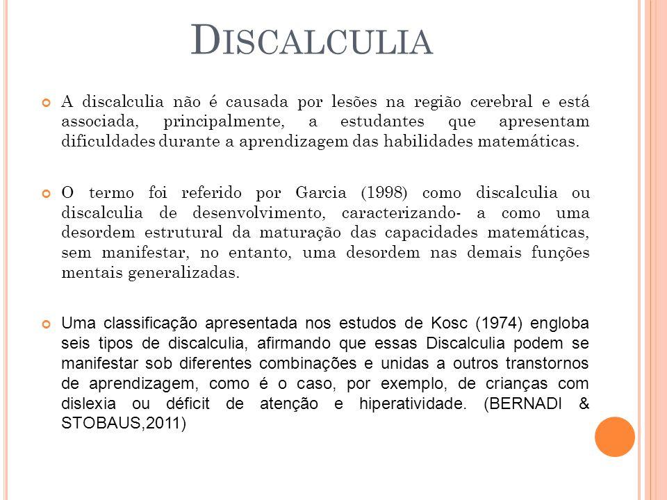 A discalculia não é causada por lesões na região cerebral e está associada, principalmente, a estudantes que apresentam dificuldades durante a aprendi