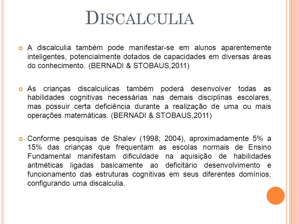 D ISCALCULIA A discalculia também pode manifestar-se em alunos aparentemente inteligentes, potencialmente dotados de capacidades em diversas áreas do