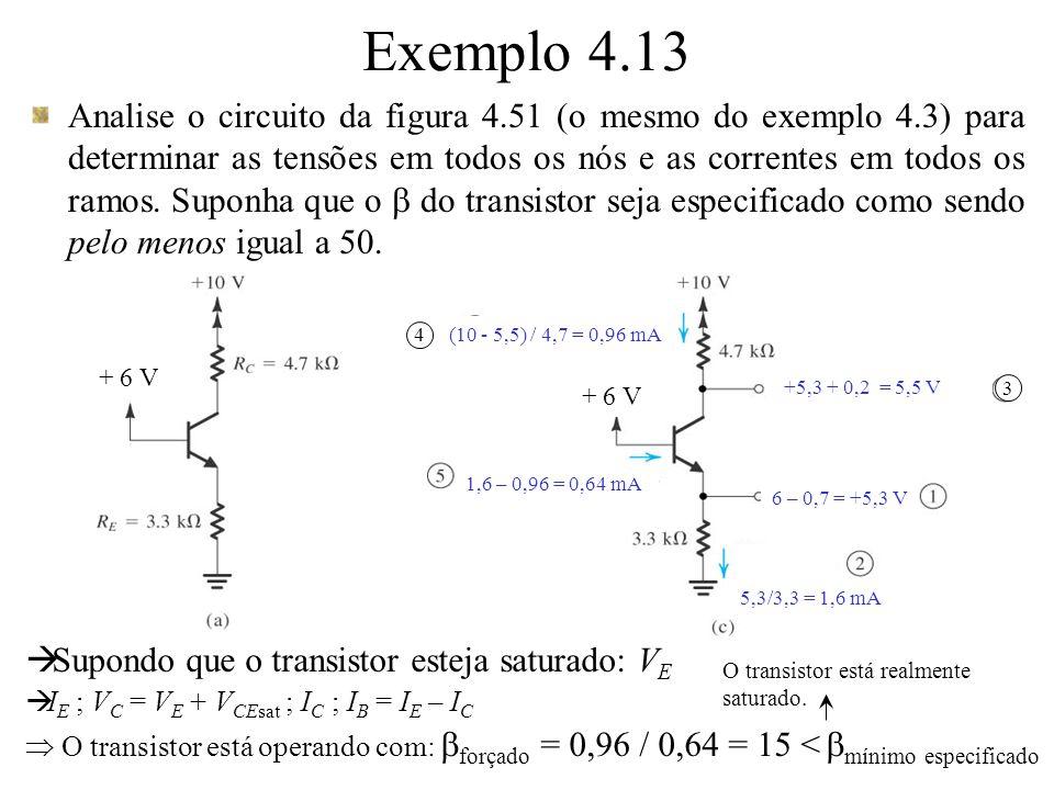 Analise o circuito da figura 4.51 (o mesmo do exemplo 4.3) para determinar as tensões em todos os nós e as correntes em todos os ramos. Suponha que o