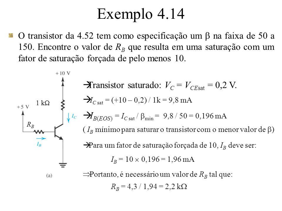 O transistor da 4.52 tem como especificação um na faixa de 50 a 150. Encontre o valor de R B que resulta em uma saturação com um fator de saturação fo