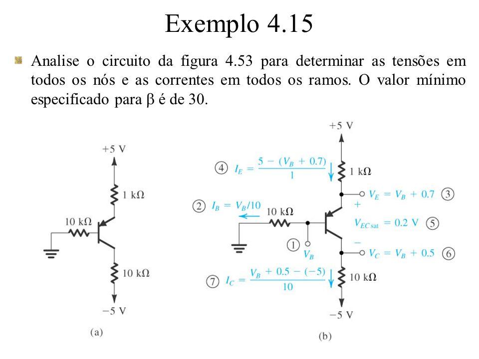 Analise o circuito da figura 4.53 para determinar as tensões em todos os nós e as correntes em todos os ramos. O valor mínimo especificado para é de 3