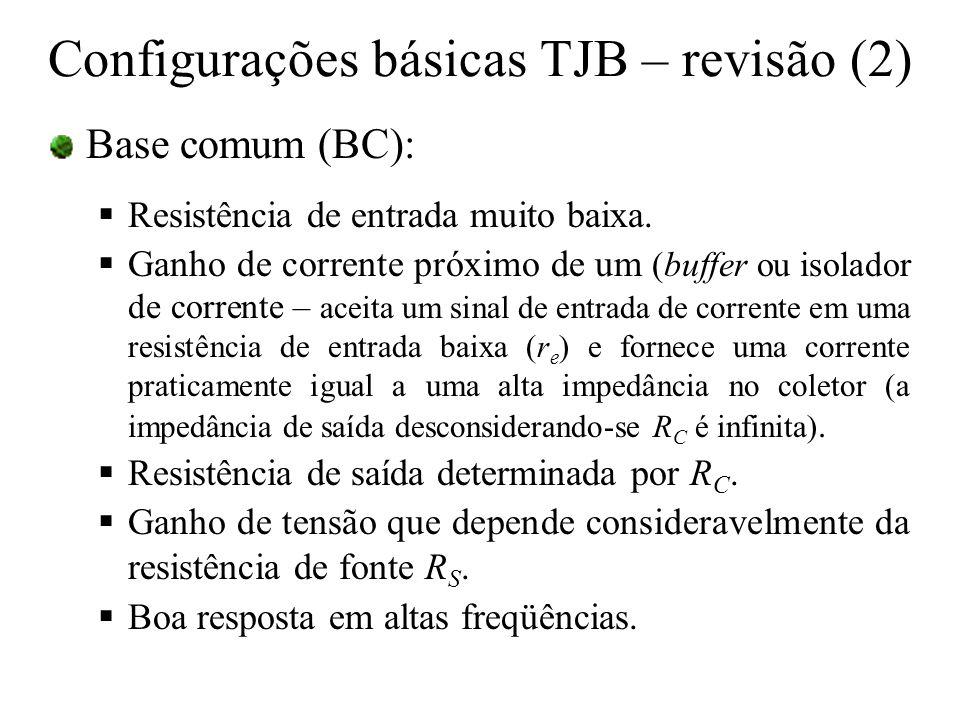 Base comum (BC): Resistência de entrada muito baixa. Ganho de corrente próximo de um (buffer ou isolador de corrente – aceita um sinal de entrada de c