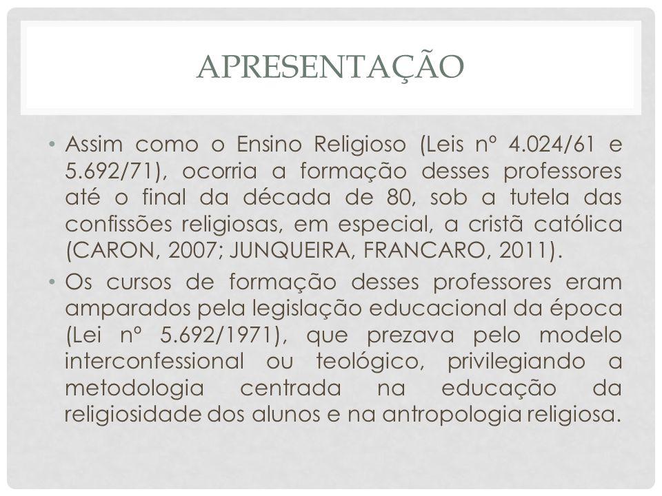 APRESENTAÇÃO Assim como o Ensino Religioso (Leis nº 4.024/61 e 5.692/71), ocorria a formação desses professores até o final da década de 80, sob a tut