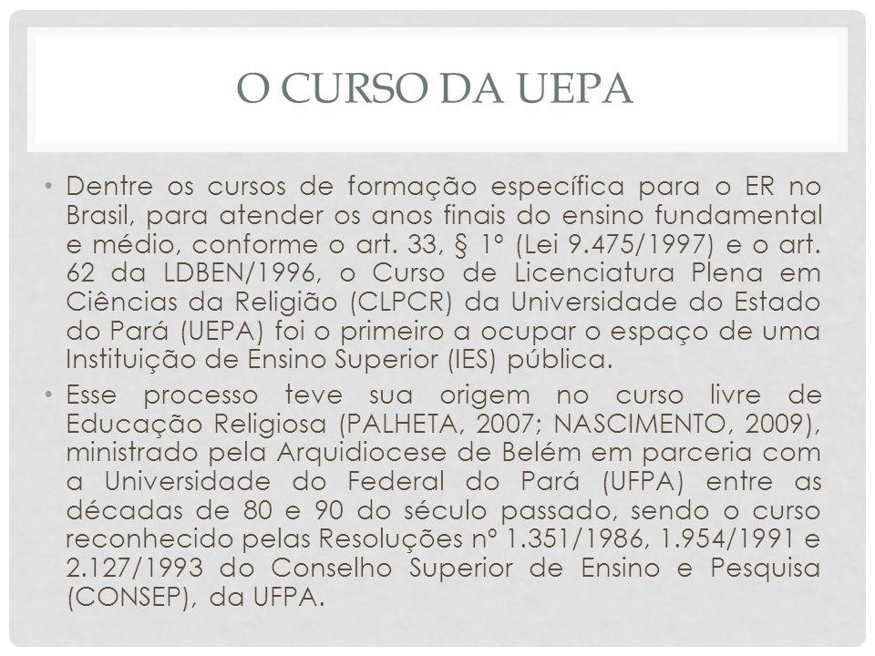 O CURSO DA UEPA Dentre os cursos de formação específica para o ER no Brasil, para atender os anos finais do ensino fundamental e médio, conforme o art