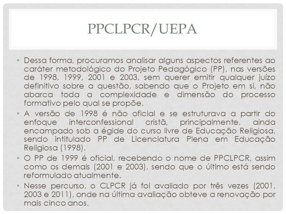 PPCLPCR/UEPA Dessa forma, procuramos analisar alguns aspectos referentes ao caráter metodológico do Projeto Pedagógico (PP), nas versões de 1998, 1999