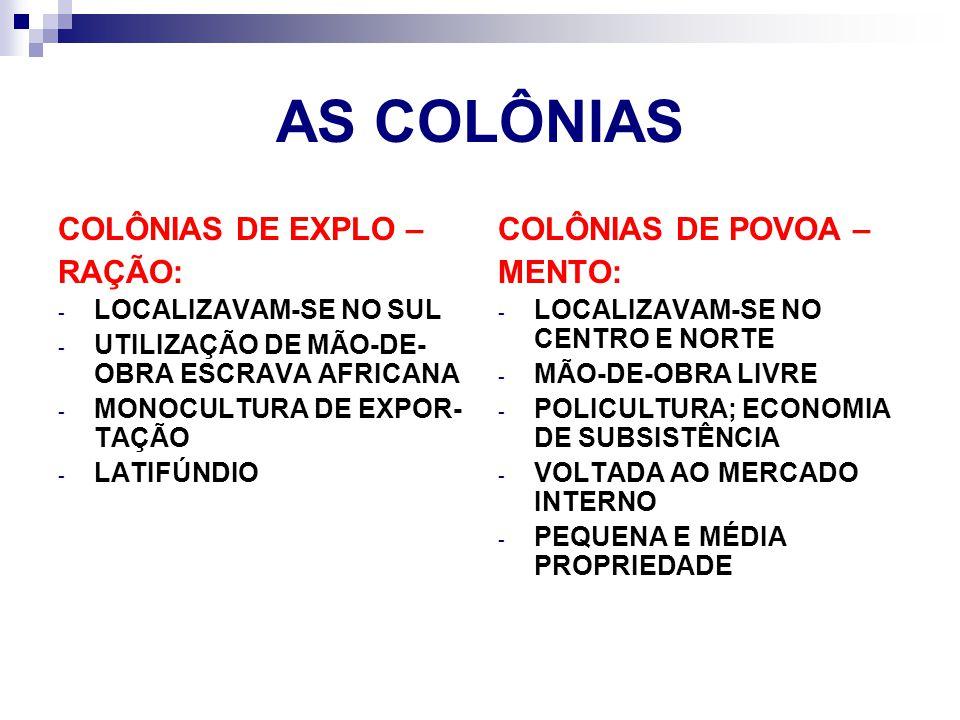 AS COLÔNIAS COLÔNIAS DE EXPLO – RAÇÃO: - LOCALIZAVAM-SE NO SUL - UTILIZAÇÃO DE MÃO-DE- OBRA ESCRAVA AFRICANA - MONOCULTURA DE EXPOR- TAÇÃO - LATIFÚNDI