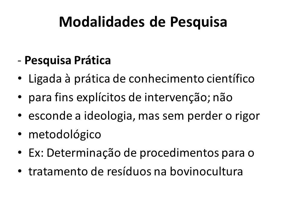Modalidades de Pesquisa - Pesquisa Prática Ligada à prática de conhecimento científico para fins explícitos de intervenção; não esconde a ideologia, m