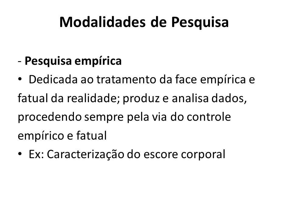 Modalidades de Pesquisa - Pesquisa empírica Dedicada ao tratamento da face empírica e fatual da realidade; produz e analisa dados, procedendo sempre p