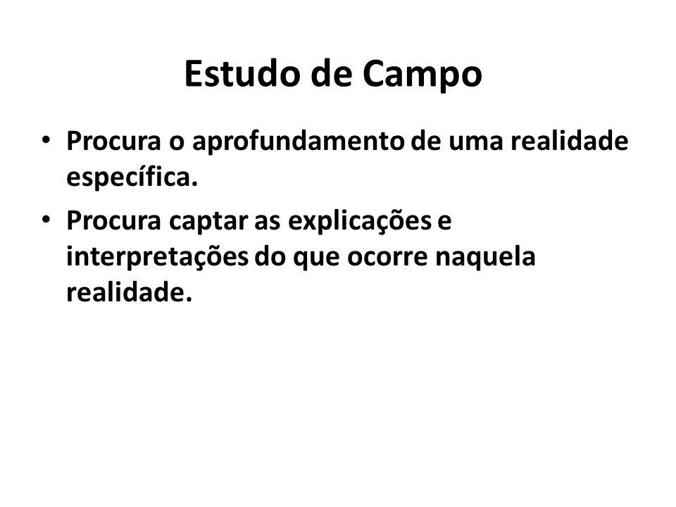 Estudo de Campo Procura o aprofundamento de uma realidade específica. Procura captar as explicações e interpretações do que ocorre naquela realidade.